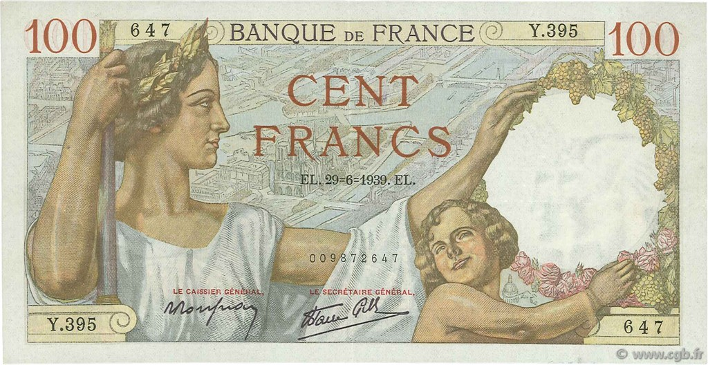 100 Francs SULLY FRANCE  1939 F.26.04 SUP+