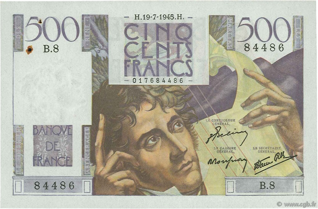 500 Francs CHATEAUBRIAND FRANCE  1945 F.34.01 SUP+