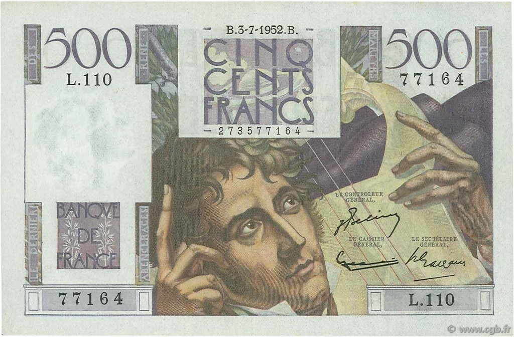 500 Francs CHATEAUBRIAND FRANCE  1952 F.34.09 pr.SPL