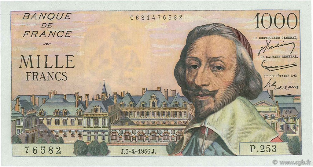 1000 Francs RICHELIEU FRANCE  1956 F.42.20 SPL