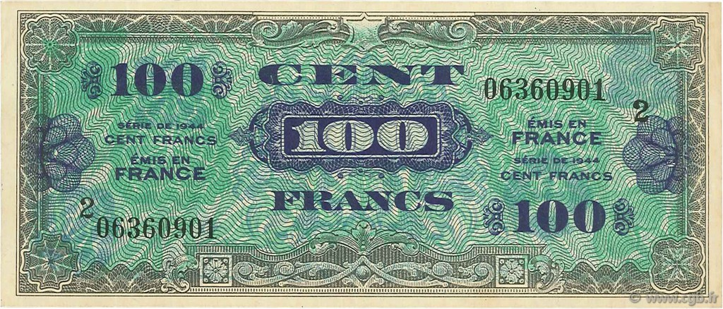 100 Francs DRAPEAU FRANCE  1944 VF.20.02 pr.SUP