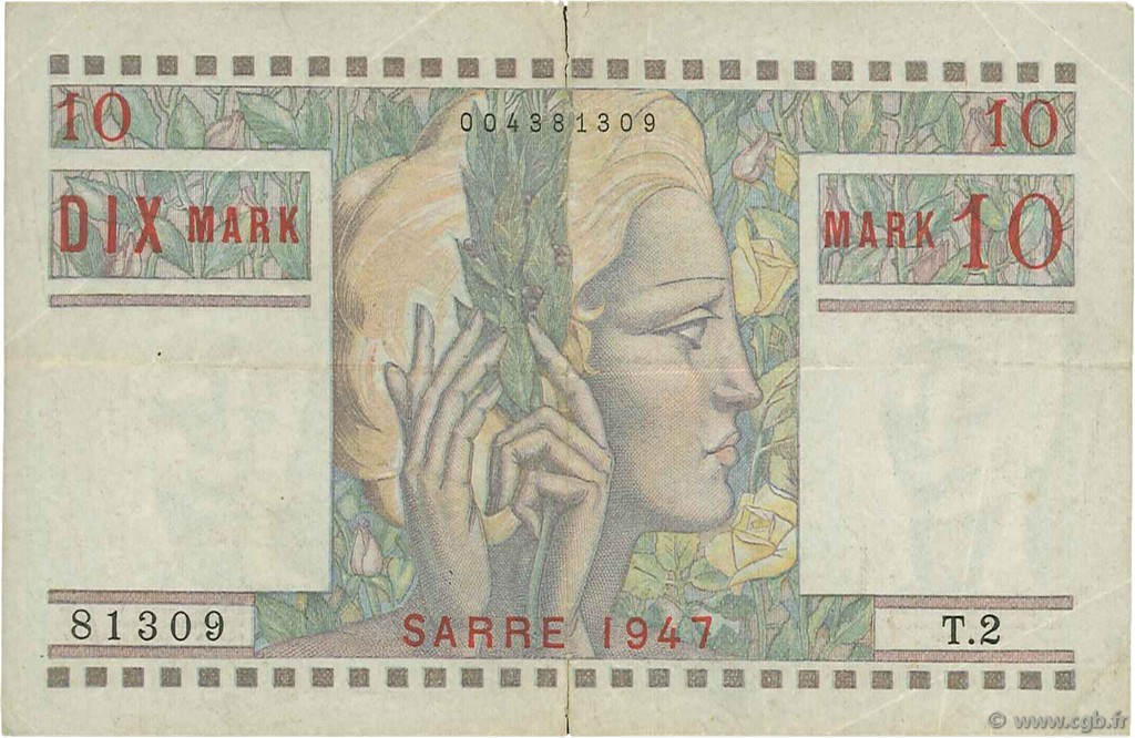 10 Mark SARRE FRANCE   VF.47.01 pr.TTB
