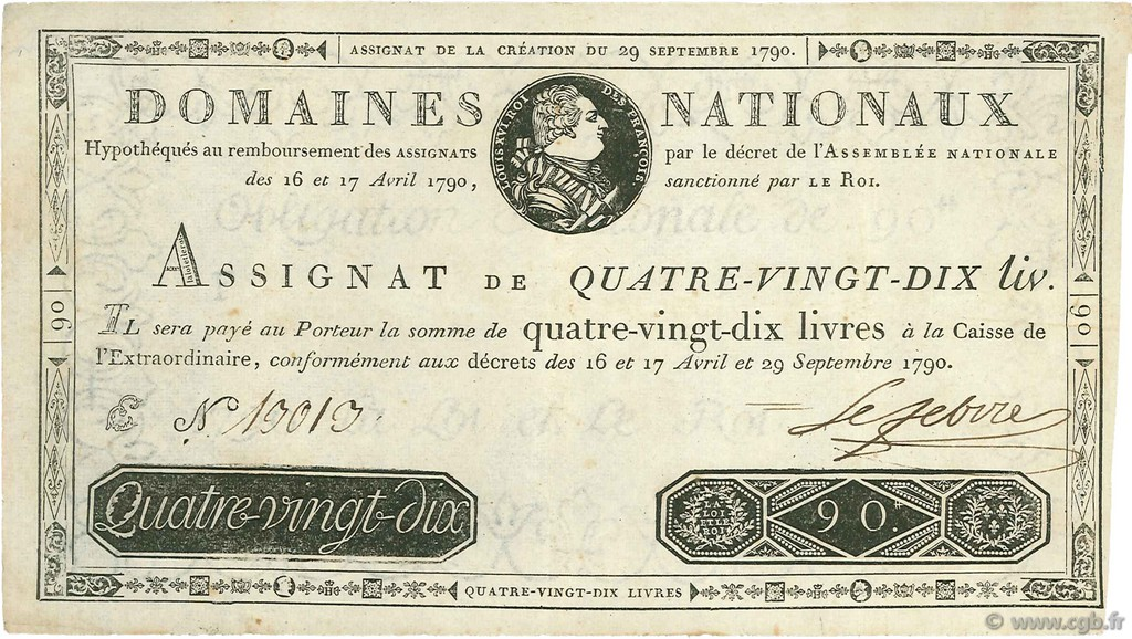 90 Livres FRANCE  1790 Ass.08a TTB+