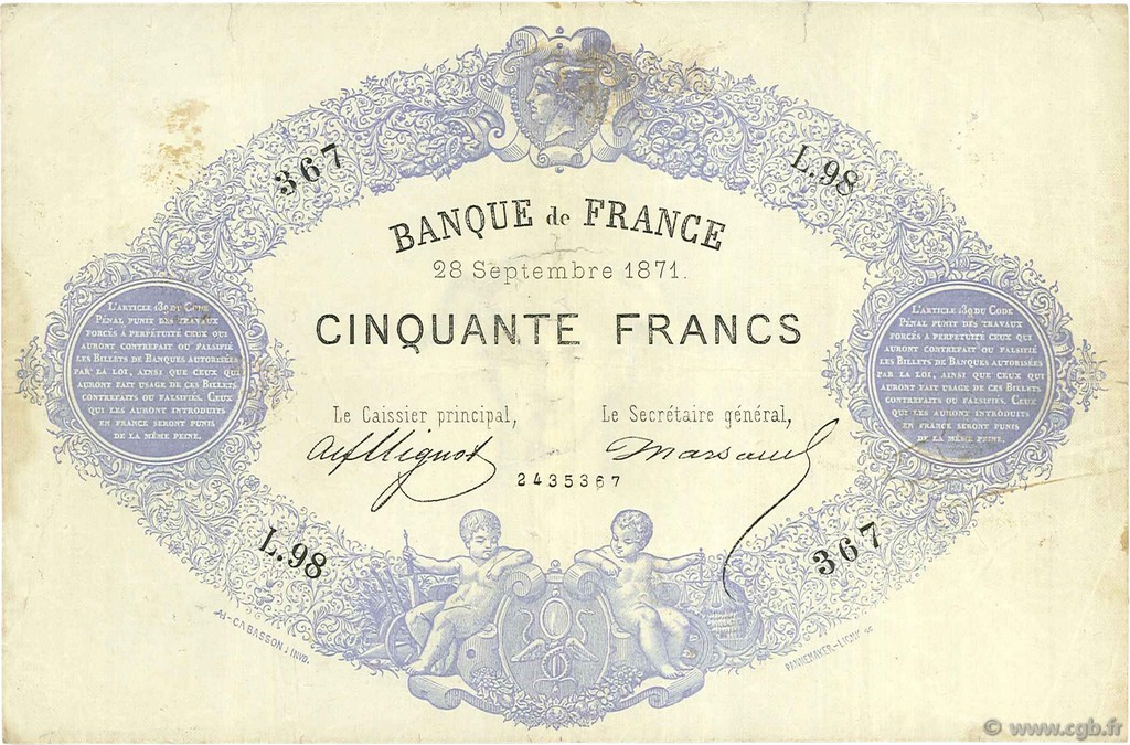 50 Francs type 1868 Indices Noirs FRANCE  1871 F.A38.05 TB+