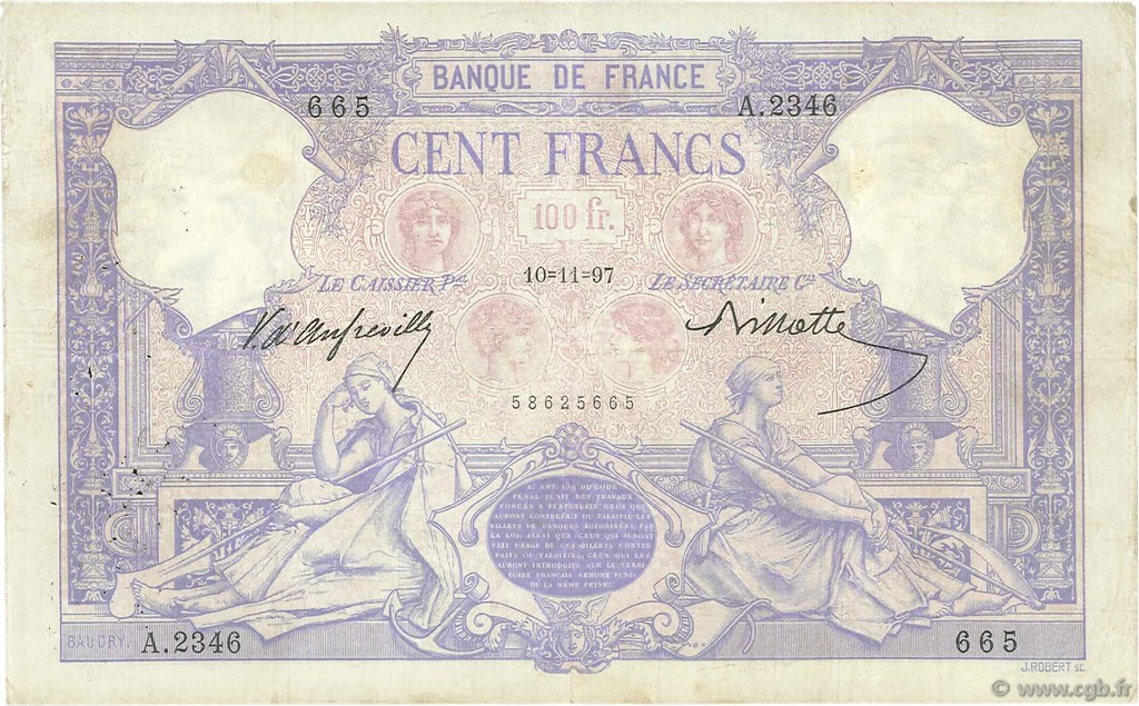100 Francs BLEU ET ROSE FRANCE  1897 F.21.10 TB