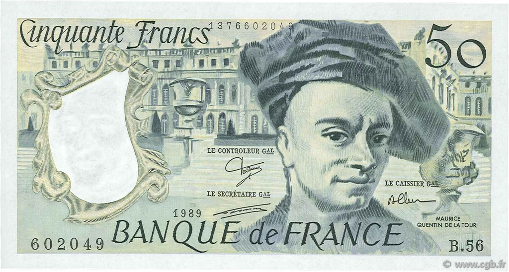 50 Francs QUENTIN DE LA TOUR FRANCE  1989 F.67.15 SPL+