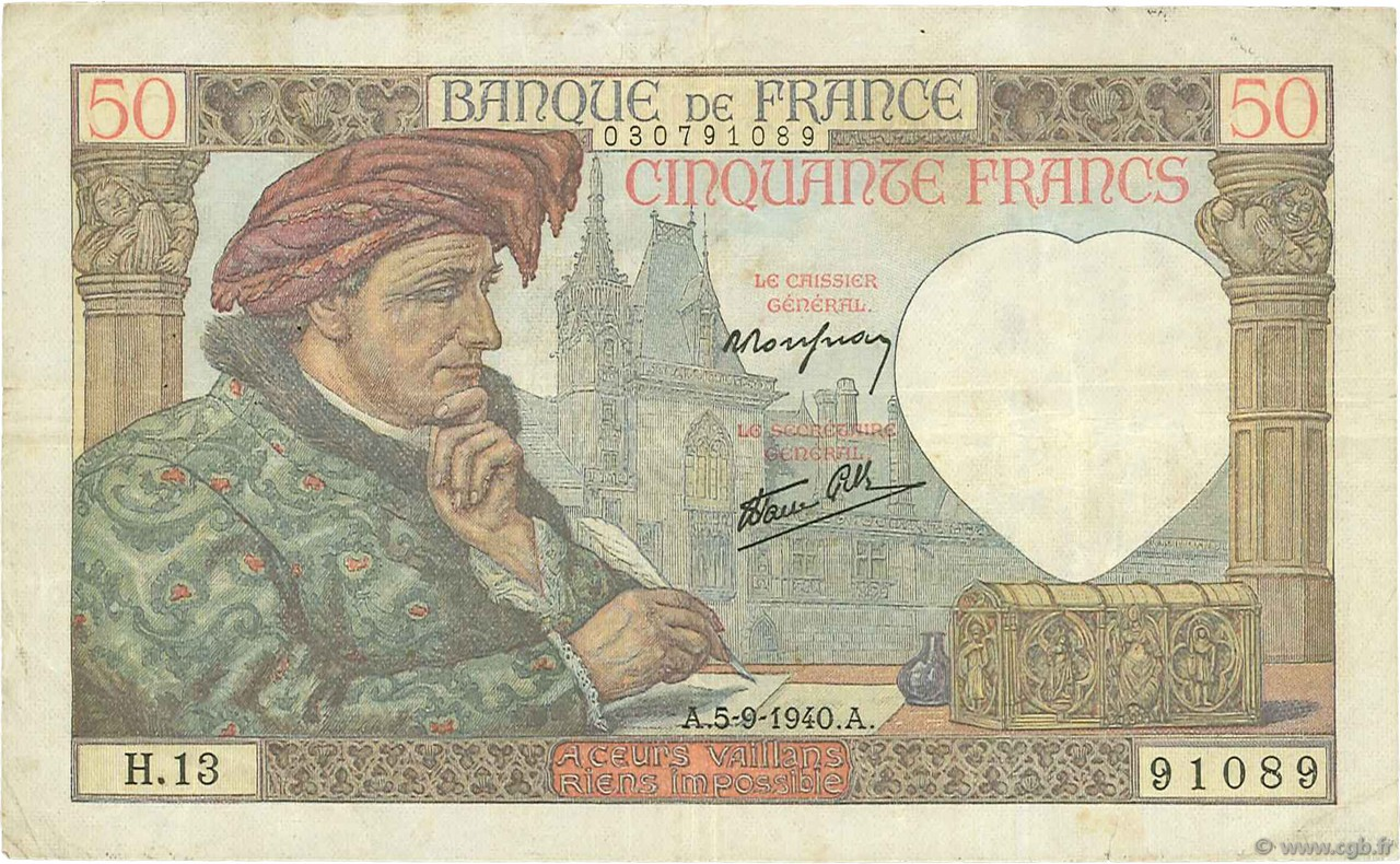 50 Francs JACQUES CŒUR FRANCE  1940 F.19.02 TTB