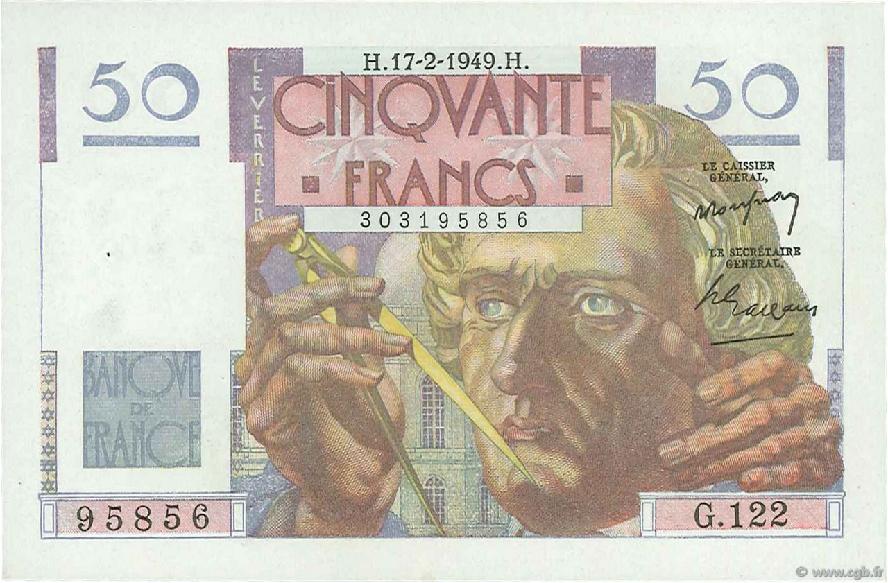 50 Francs LE VERRIER FRANCE  1949 F.20.11 pr.SPL
