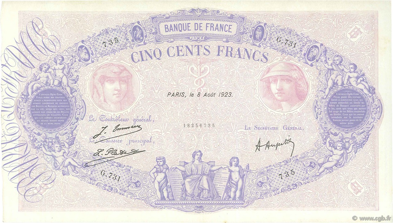 500 Francs BLEU ET ROSE FRANCE  1923 F.30.27 TTB à SUP