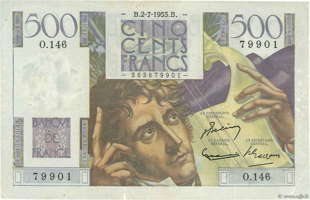 500 Francs CHATEAUBRIAND FRANCE  1953 F.34.13 TTB