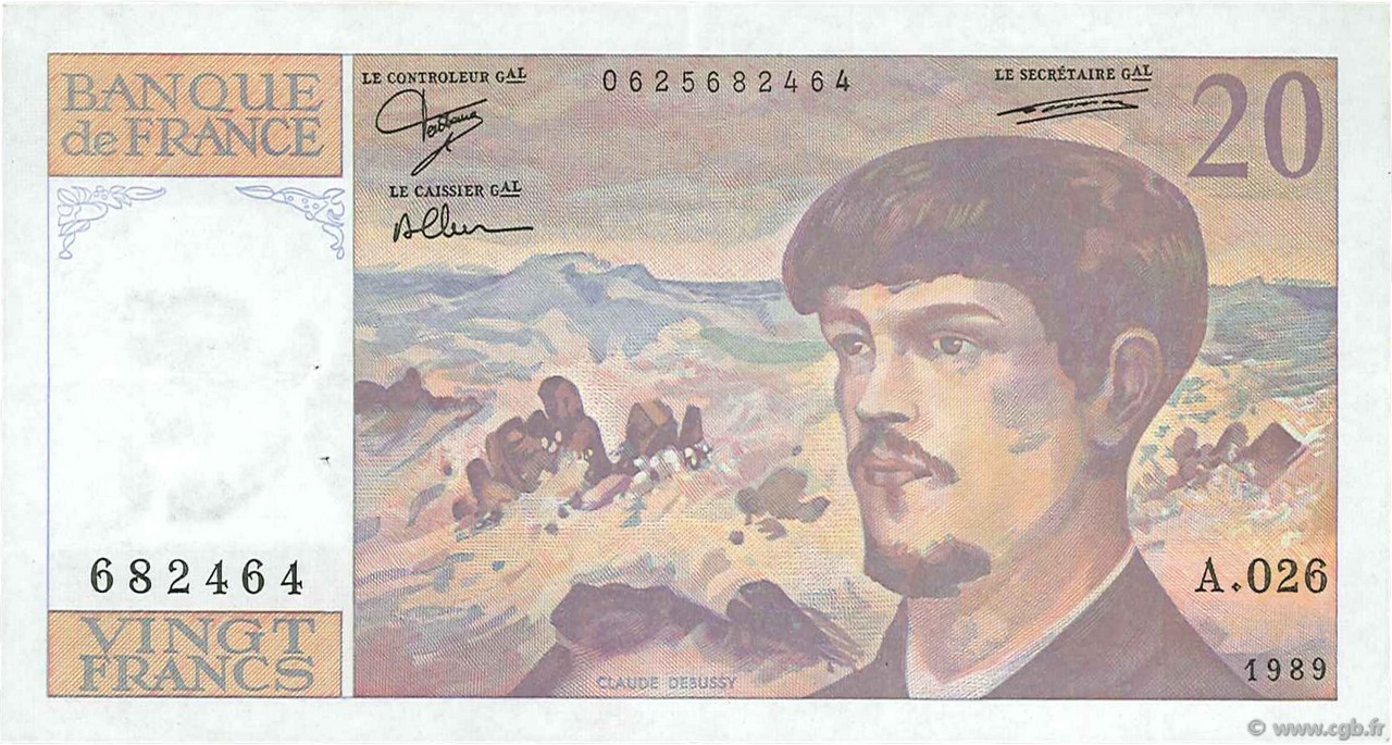 20 Francs DEBUSSY FRANCE  1989 F.66.10a pr.SUP