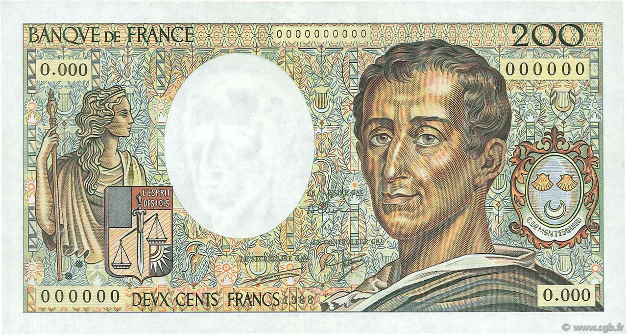 200 Francs MONTESQUIEU FRANCE  1988 F.70.00 SUP+