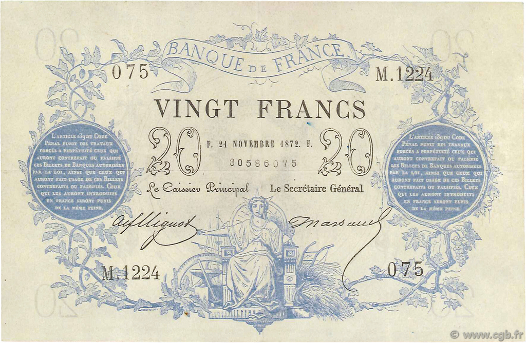 20 Francs type 1871 FRANCE  1872 F.A46.03 SUP