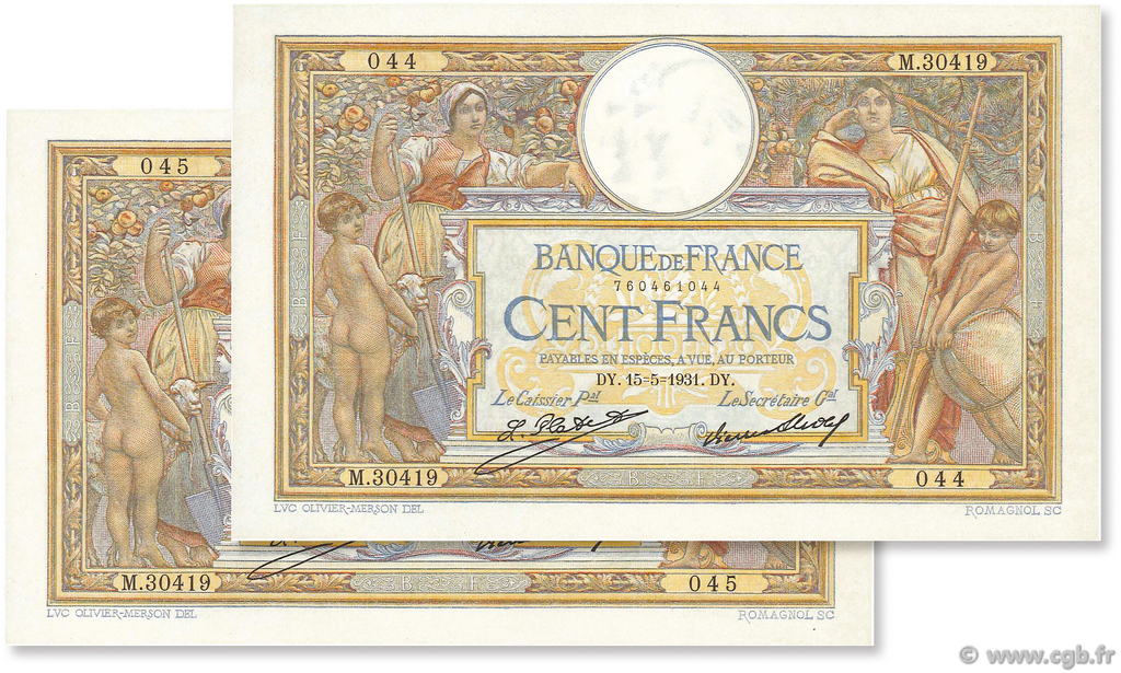 100 Francs LUC OLIVIER MERSON grands cartouches FRANCE  1931 F.24.10 NEUF