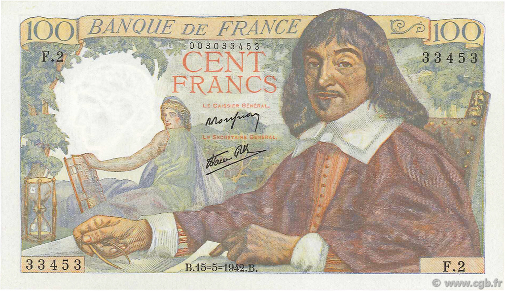 100 Francs DESCARTES FRANCE  1942 F.27.01 NEUF