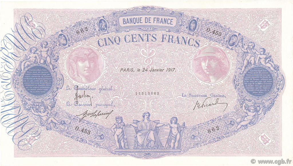500 Francs BLEU ET ROSE FRANCE  1917 F.30.23 SUP