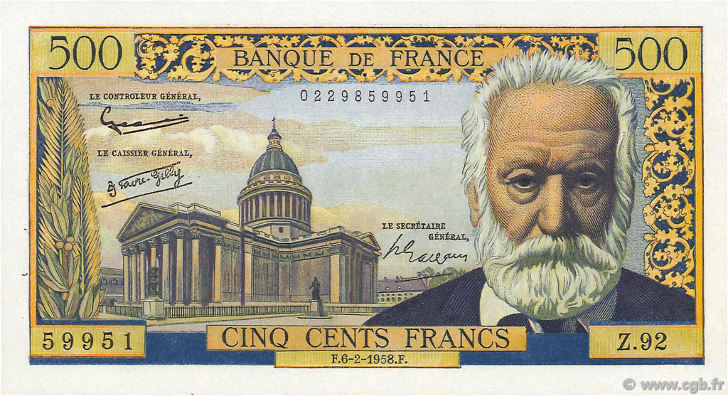 500 Francs VICTOR HUGO FRANCE  1958 F.35.08 SPL