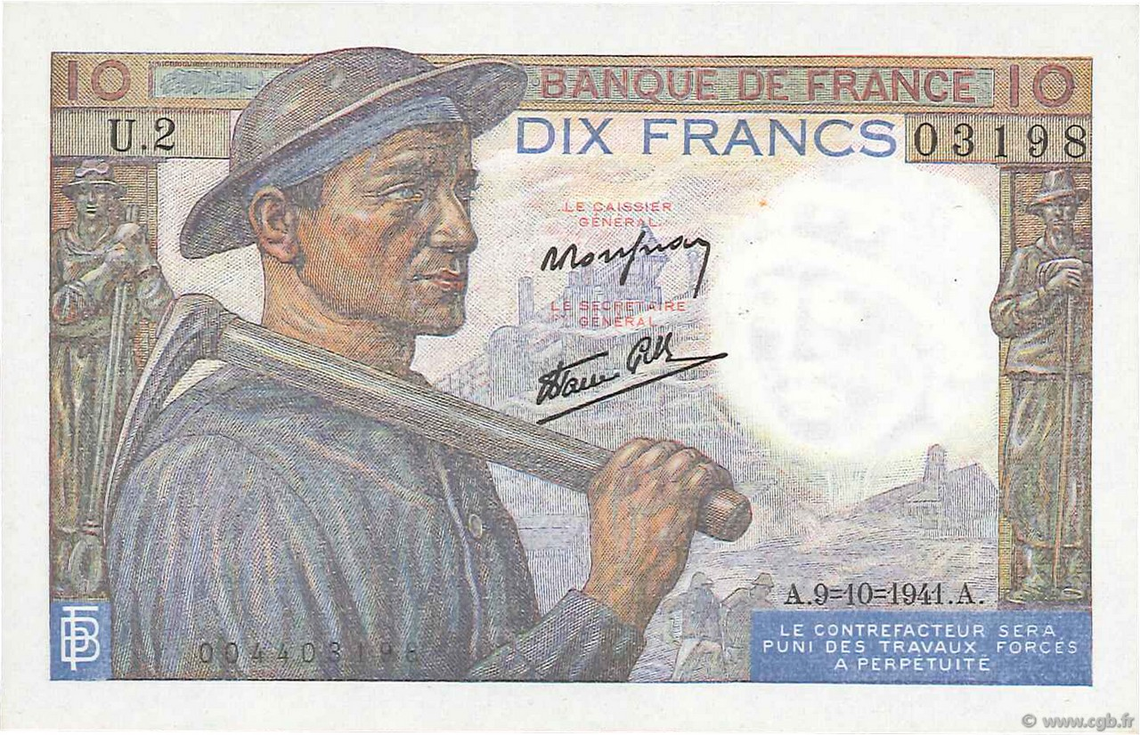 10 Francs MINEUR FRANCE  1941 F.08.02 SPL