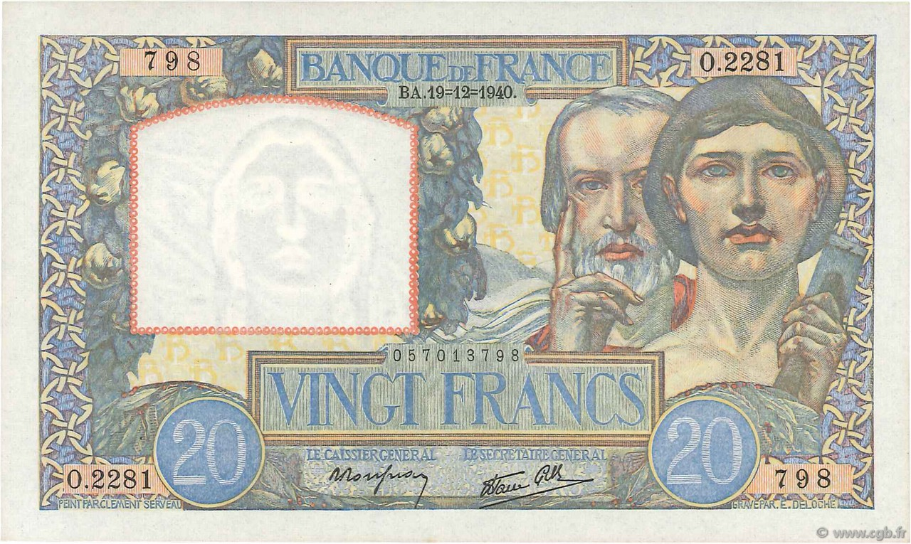 20 Francs SCIENCE ET TRAVAIL FRANCE  1940 F.12.11 NEUF