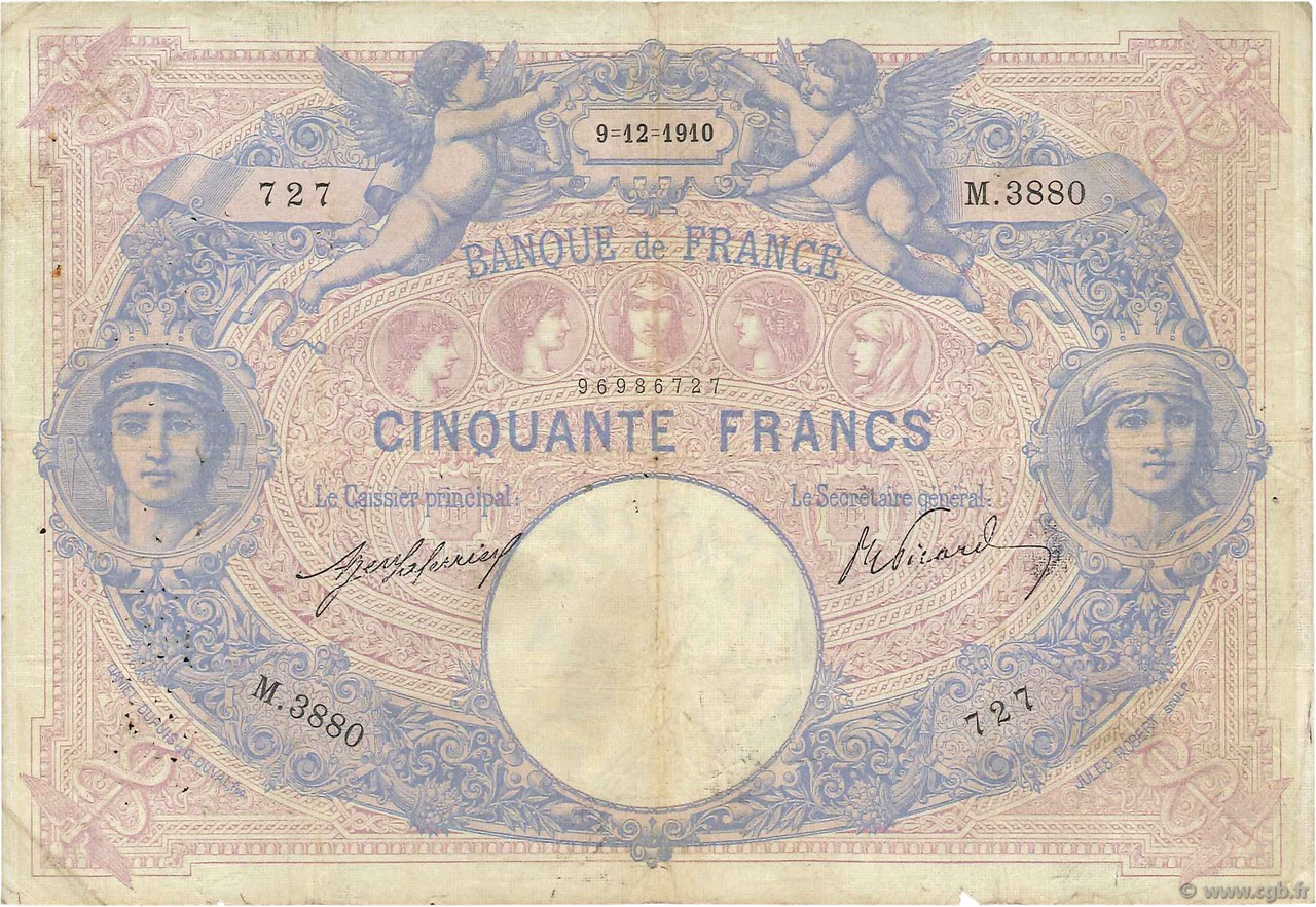 50 Francs BLEU ET ROSE FRANCE  1910 F.14.23 B+