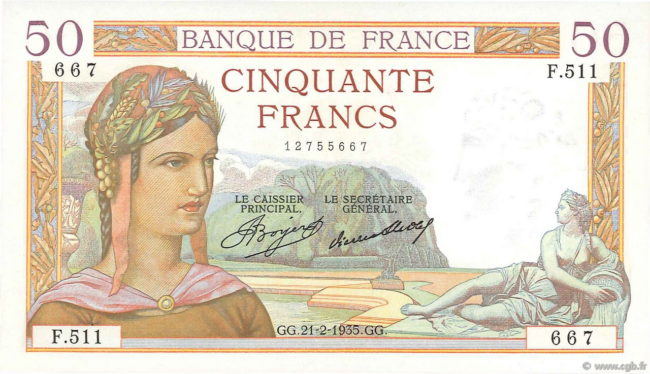 50 Francs CÉRÈS FRANCE  1935 F.17.04 SUP