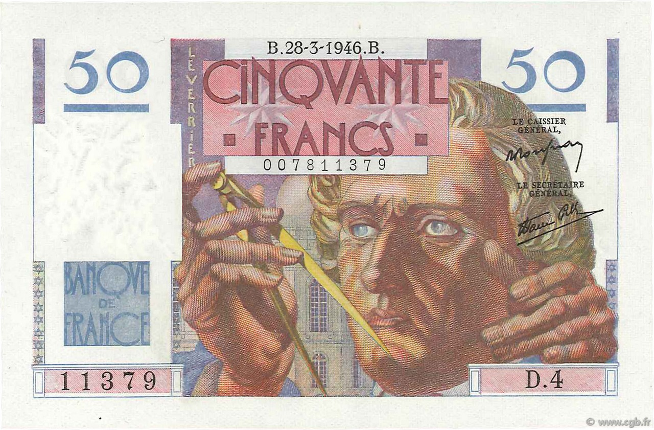 50 Francs LEVERRIER FRANCE  1946 F.20.02 NEUF