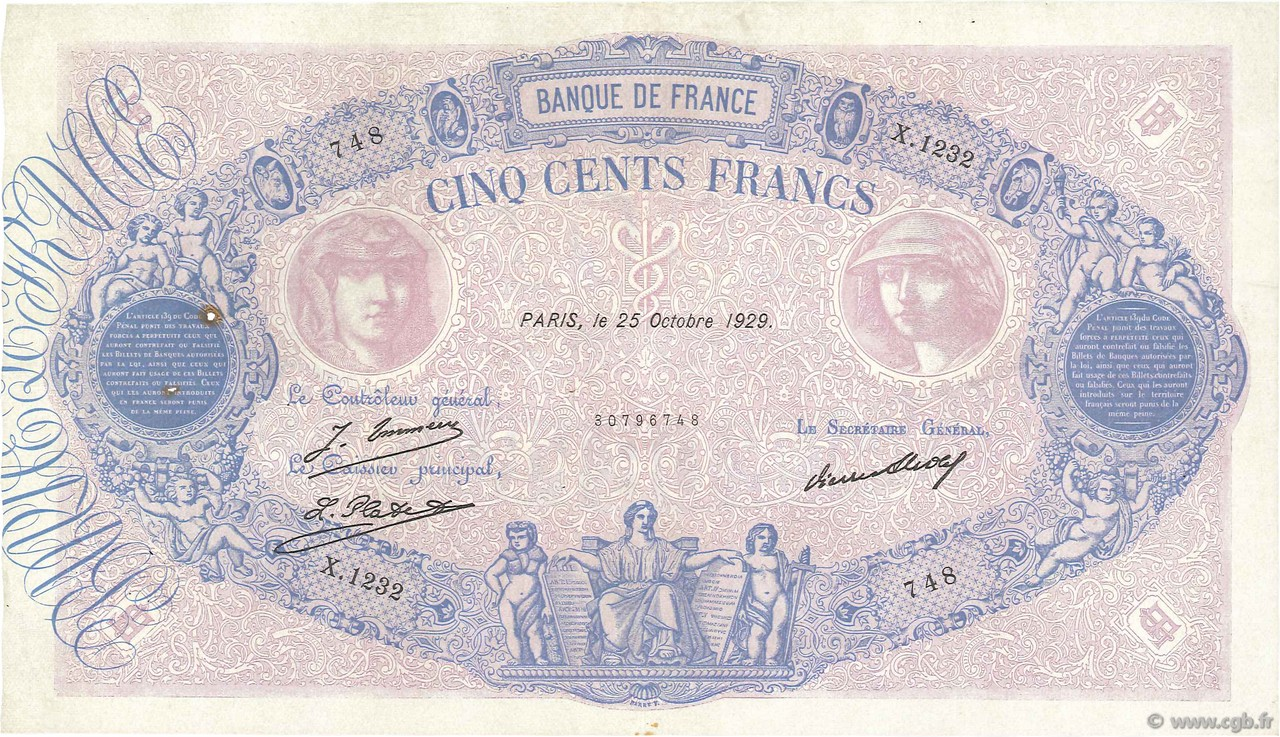 500 Francs BLEU ET ROSE FRANCE  1929 F.30.32 TTB