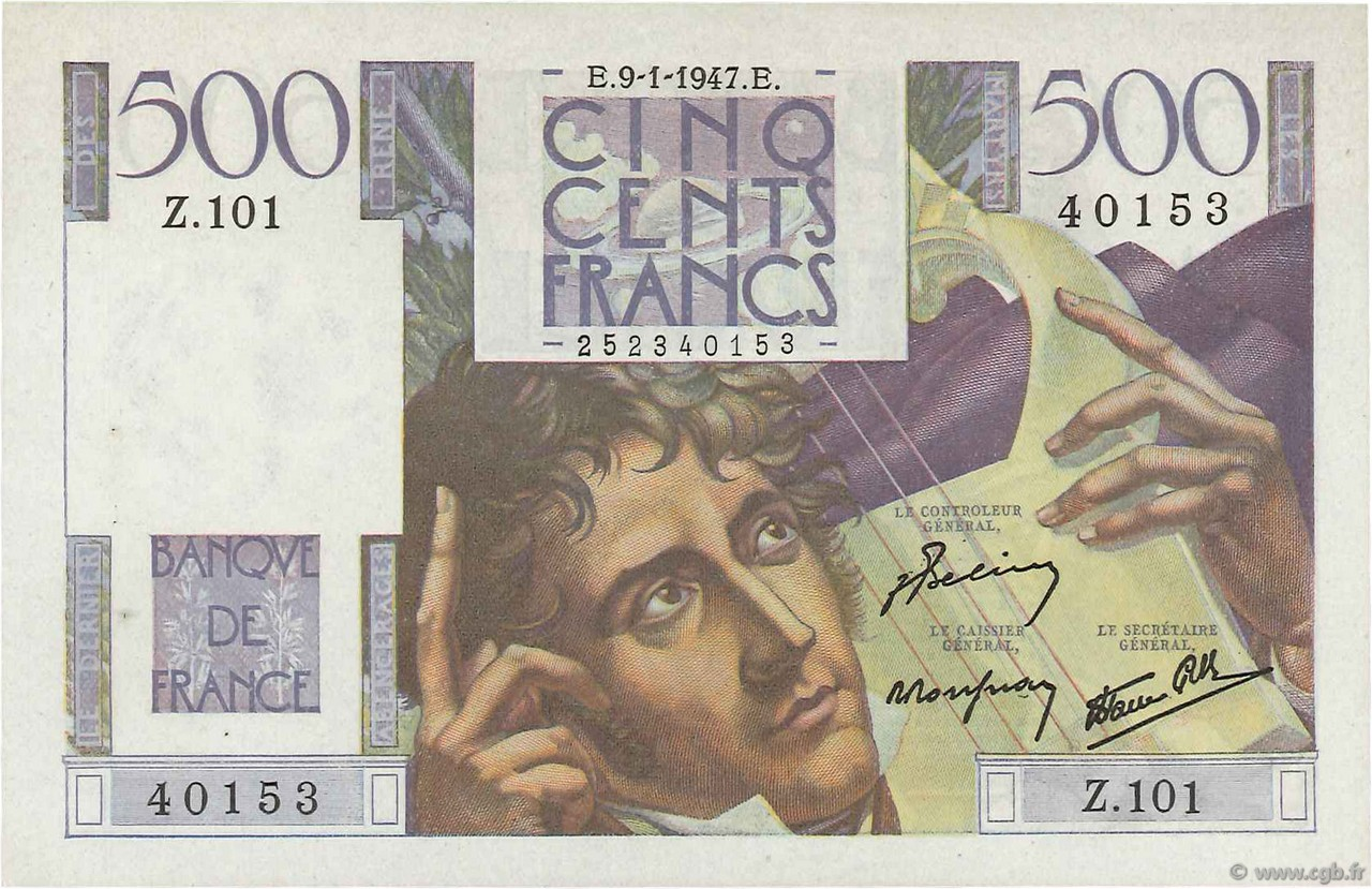 500 Francs CHATEAUBRIAND FRANCE  1947 F.34.07 SPL