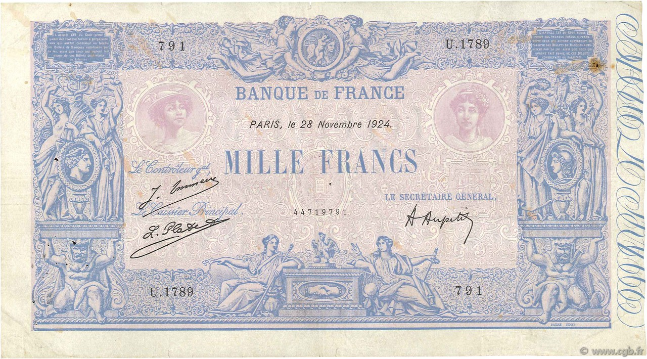 1000 Francs BLEU ET ROSE FRANCE  1924 F.36.40 TB