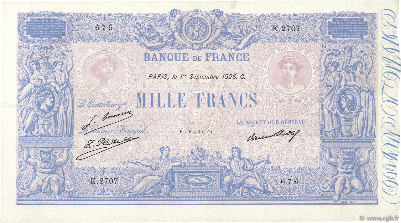 1000 Francs BLEU ET ROSE FRANCE  1926 F.36.43 TTB