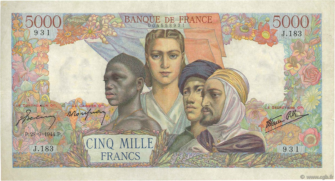 5000 Francs EMPIRE FRANÇAIS FRANCE  1944 F.47.08 TTB