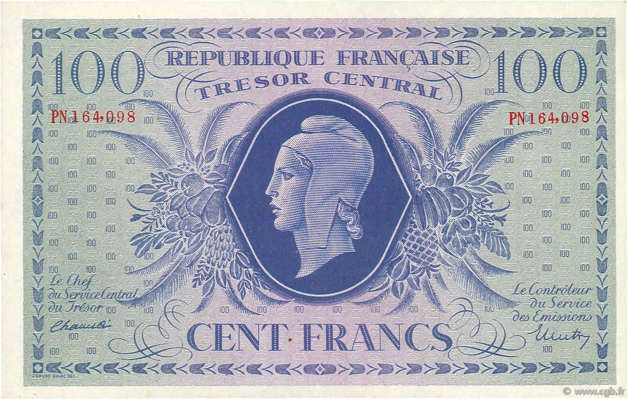 100 Francs FRANCE  1943 VF.06.01f NEUF