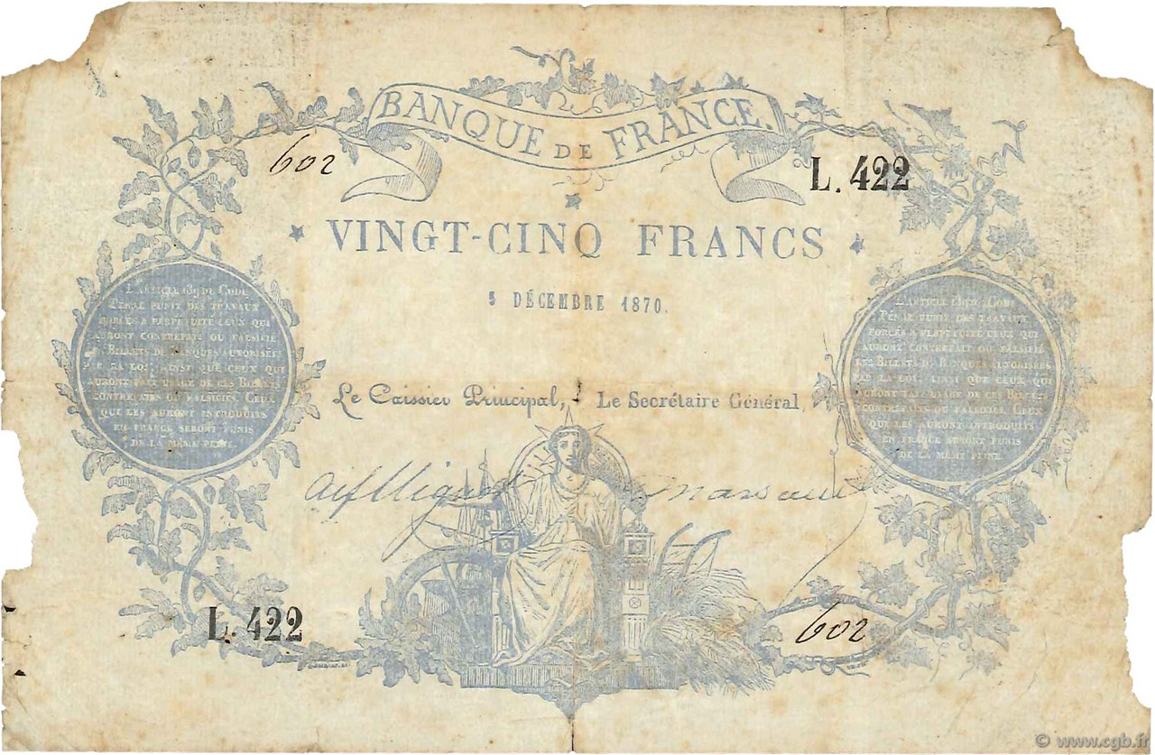 25 Francs type 1870 Clermont-Ferrand FRANCE  1870 F.A44.01 B+