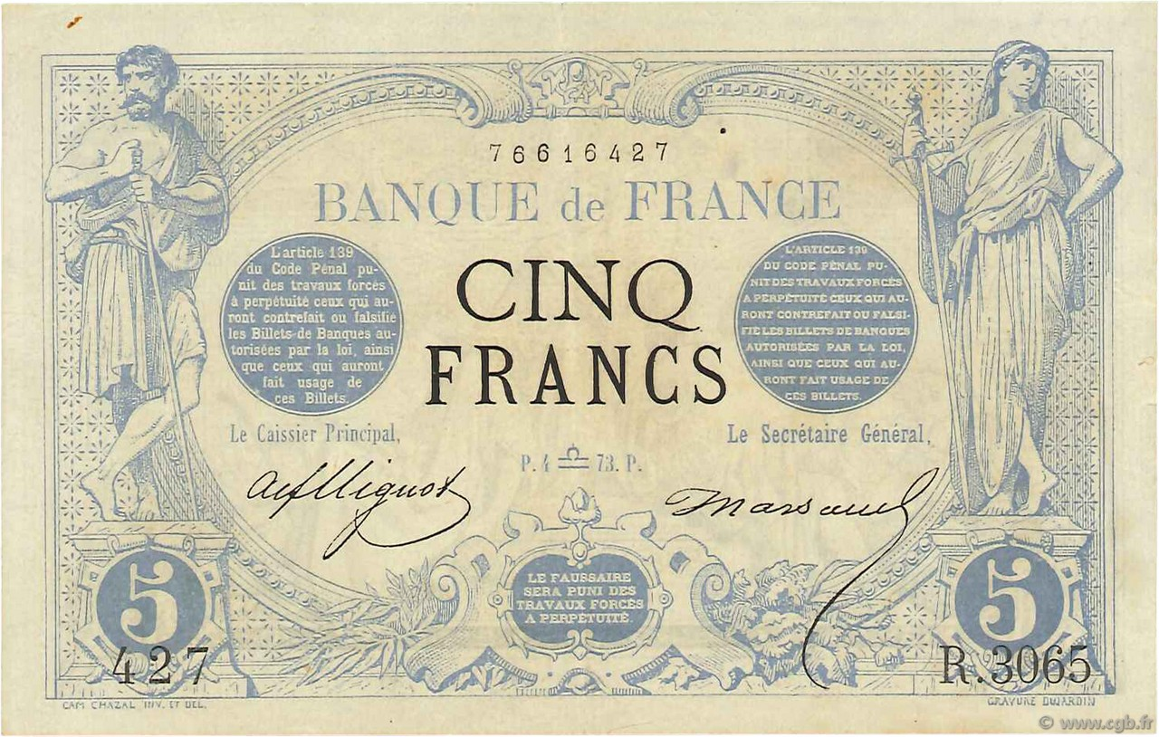 5 Francs NOIR FRANCE  1873 F.01.22 SUP