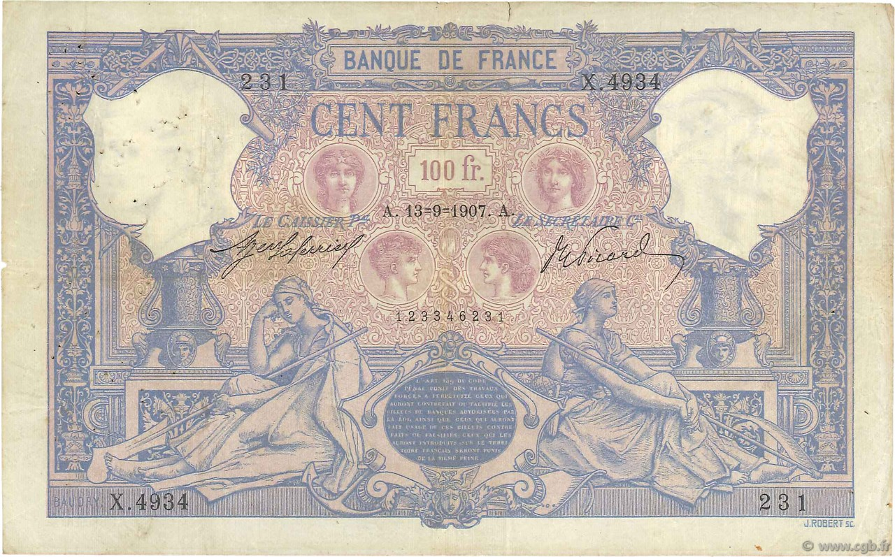 100 Francs BLEU ET ROSE FRANCE  1907 F.21.22 TB