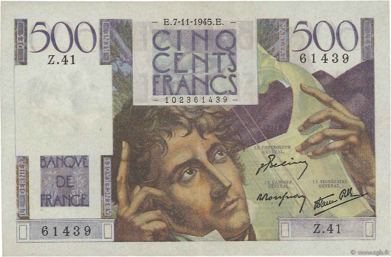 500 Francs CHATEAUBRIAND FRANCE  1945 F.34.03 SUP+