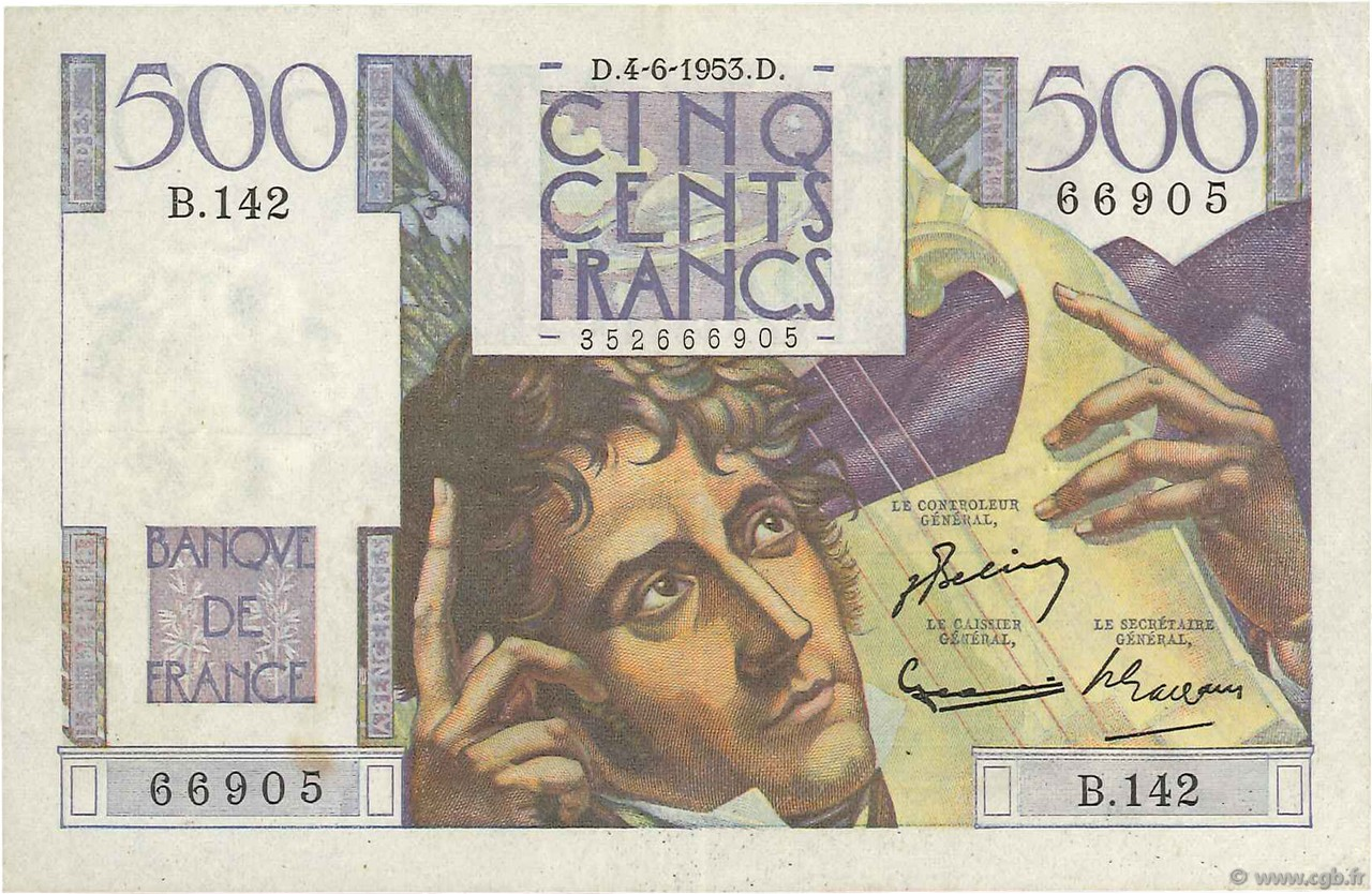 500 Francs CHATEAUBRIAND FRANCE  1953 F.34.12 pr.SUP