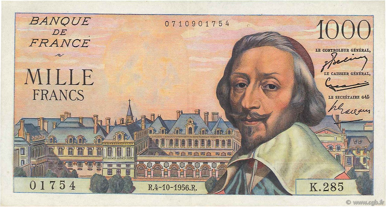 1000 Francs RICHELIEU FRANCE  1956 F.42.22 SUP à SPL