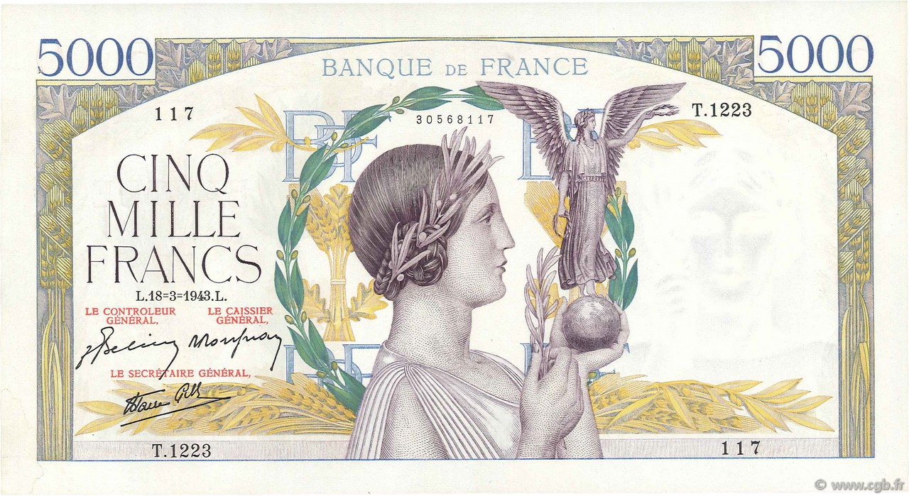 5000 Francs VICTOIRE Impression à plat FRANCE  1943 F.46.49 SUP+