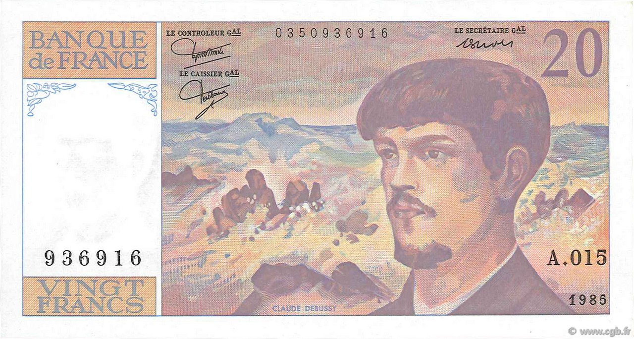 20 Francs DEBUSSY FRANCE  1985 F.66.06 SPL+