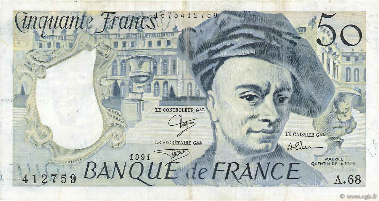 50 Francs QUENTIN DE LA TOUR FRANCE  1991 F.67.17 TTB