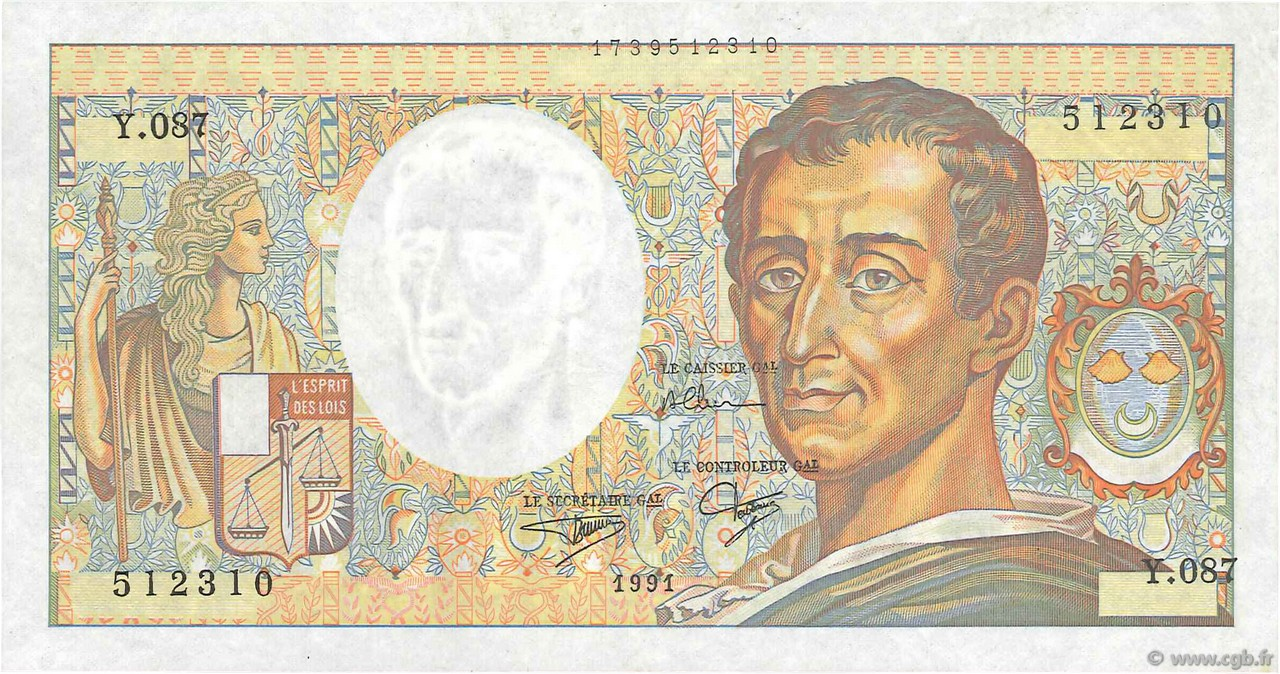 200 Francs MONTESQUIEU FRANCE  1991 F.70.11 SPL