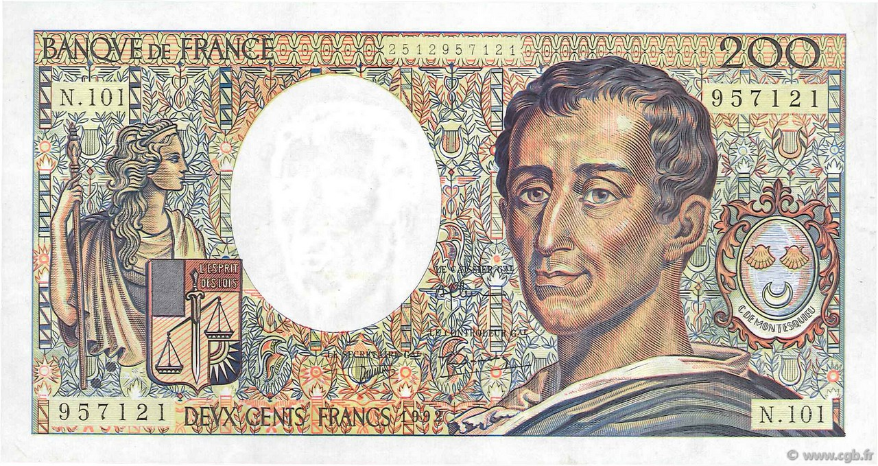 200 Francs MONTESQUIEU alphabet 101 FRANCE  1992 F.70bis.01 SUP