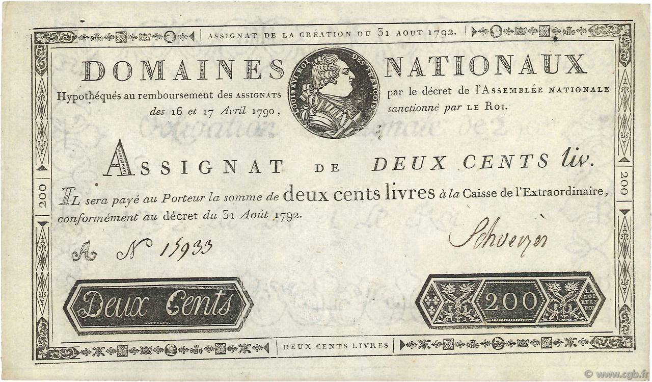 200 Livres FRANCE  1792 Ass.33a pr.SUP