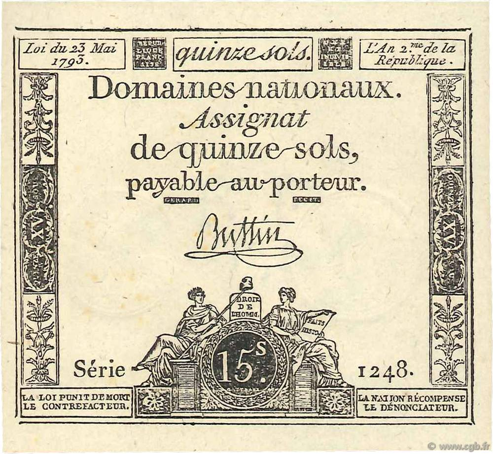 15 Sols FRANCE  1793 Ass.41b NEUF