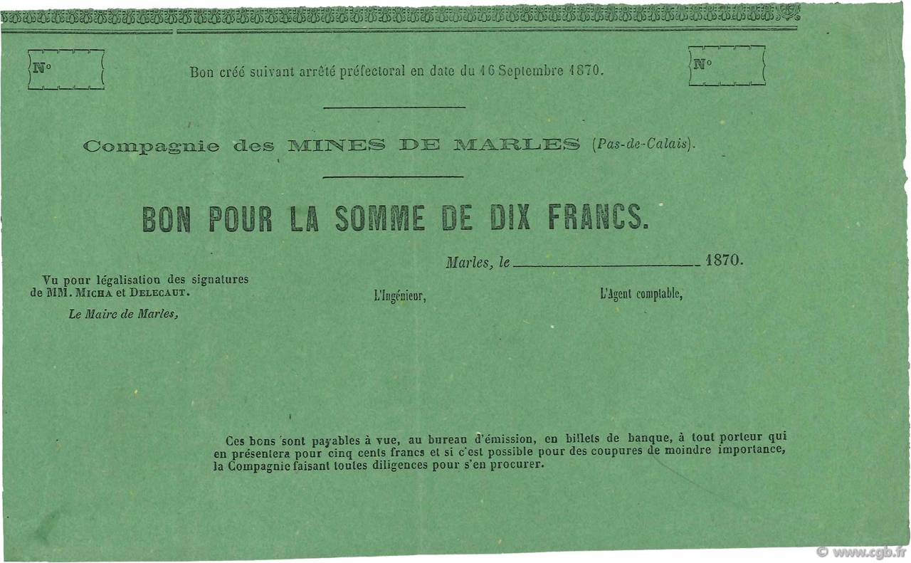 10 Francs FRANCE régionalisme et divers  1870 - SUP