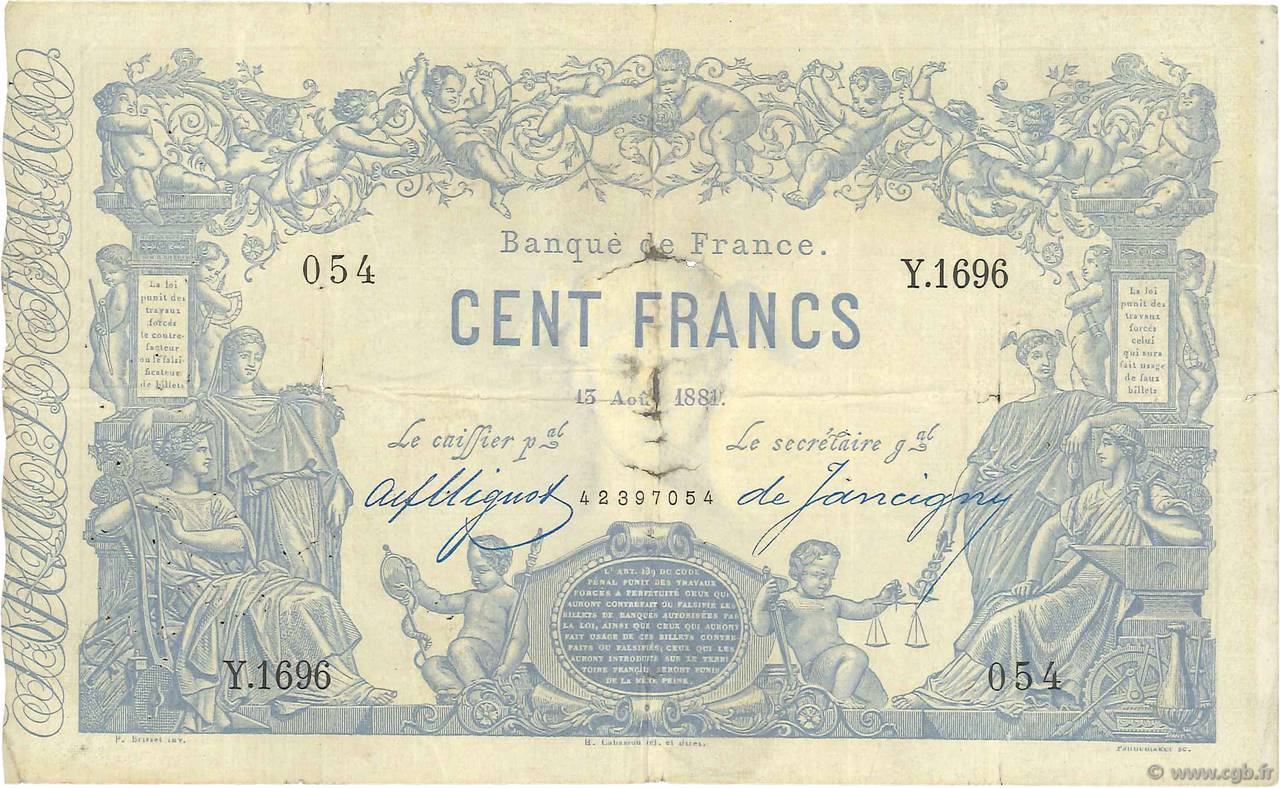 100 Francs type 1862 Indices Noirs FRANCE  1881 F.A39.17 TB