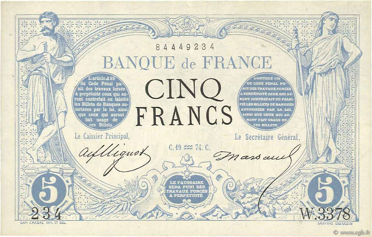5 Francs NOIR FRANCE  1874 F.01.25 SUP+