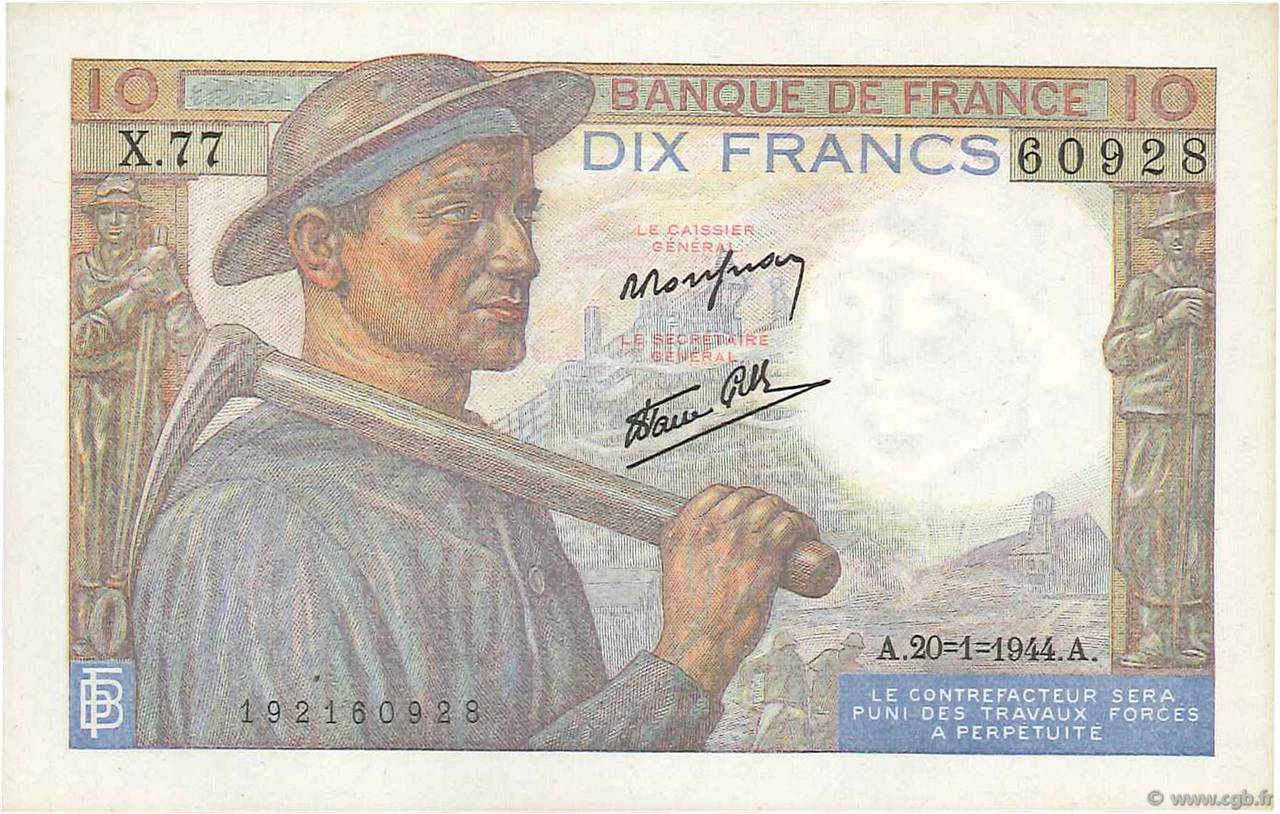 10 Francs MINEUR FRANCE  1944 F.08.11 SPL