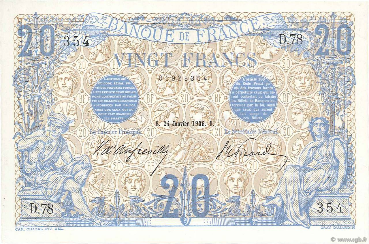 20 Francs BLEU FRANCE  1906 F.10.01 SPL